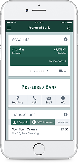 online banking example on mobile